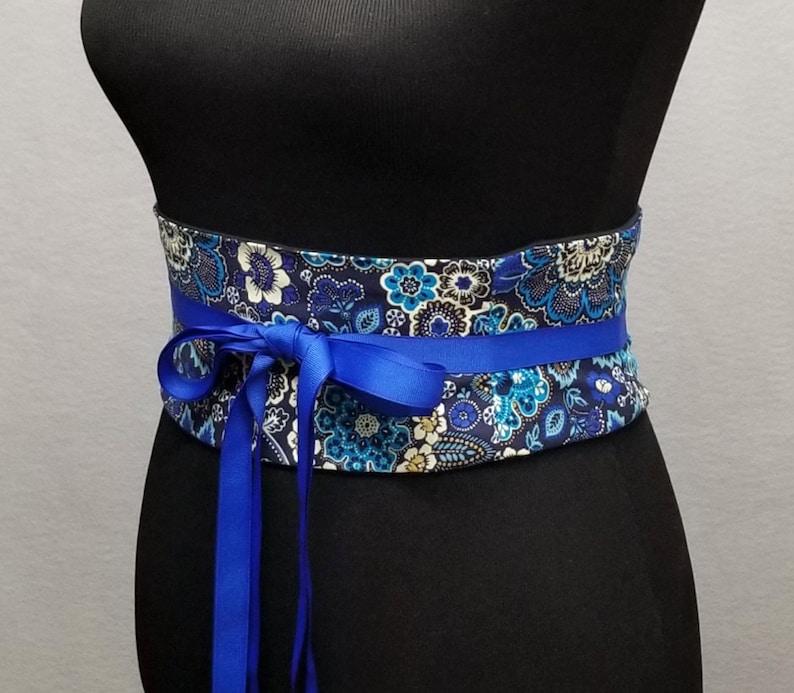 Blue Floral Obi Belt  Corset Waist Cincher  Lace Up Boned Corset Belt  Plus Size Available  Wedding Corset  Spiral Steel Boning