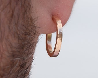 18mm x 2mm small 14k gold hoop earrings for men or women | Solid hammered yellow gold | Handmade, unique, sustainable gift for him or her.