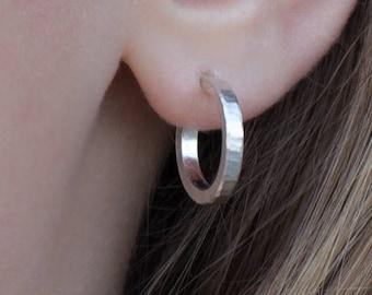 16mm tiny hoop earrings sterling silver small hoop earrings for her minimalist gift for women birthday gift for mom handmade gift for her