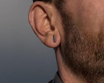 Tiny stud earrings for men sterling silver bar earrings black modern minimalist men's earrings gift for him gift for boyfriend for brother