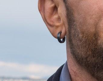 16mm small hoop earrings for men sterling silver tiny black hoop earrings men's birthday gift for him gift for boyfriend gift for husband