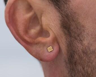 Gold stud earrings for him tiny stud earrings 22k gold minimalist men's jewelry birthday gift for men gift for boyfriend gift for husband