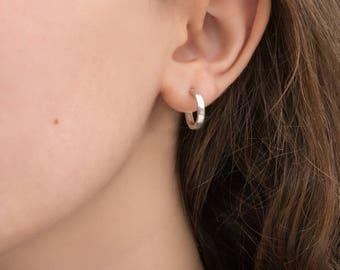 14mm tiny hoop earrings sterling silver small hoop earrings for her minimalist gift for women birthday gift for mom gift for freind sister