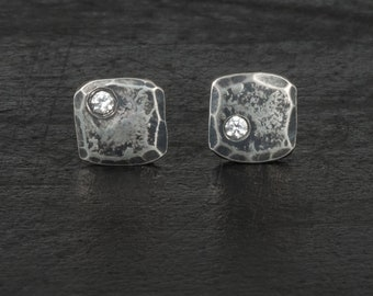 Men's earrings sterling silver small stud earrings tiny gemstone earrings for men hand made gift for him gift for men gift for boyfriend