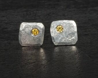 Sterling silver small stud earrings for men golden topaz gemstones men's tiny stud earrings birthday gift for him unique gift for men