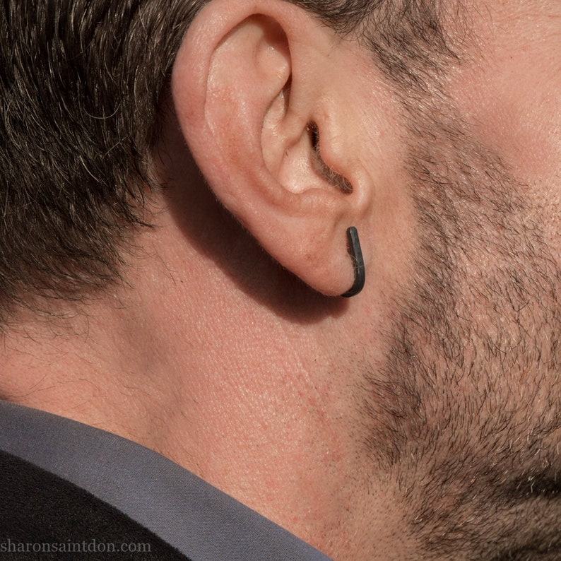 sterling silver earrings Small handmade oxidized black silver earrings Small modern