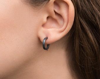 14mm sterling silver small hoop earrings black earrings tiny hoop earrings birthday gift for her anniversary gift for women gift for sister
