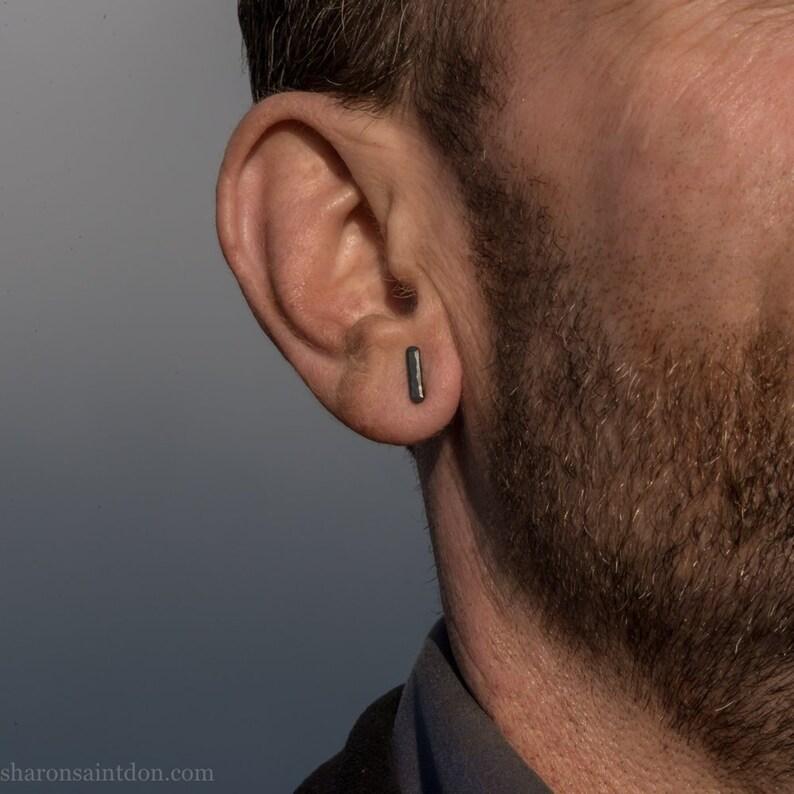 d99c55f3e Sterling silver tiny stud earrings for men Oxidized black | Etsy