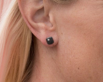 Black earrings sterling silver stud earrings tiny white gemstone small stud earrings handmade unusual earrings gift for her gift for women