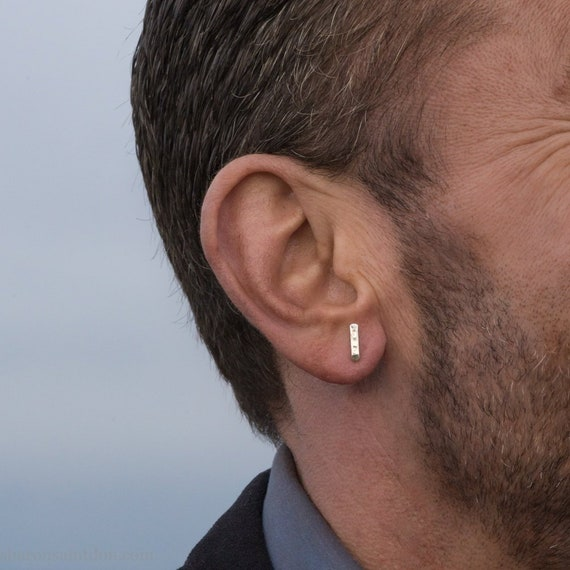 91308309e Small sterling silver stud earrings for men Tiny handmade | Etsy