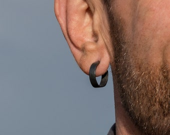 18mm sterling silver hoop earrings small men's earrings wide black hoop earrings for men gift for him gift for boyfriend birthday gift