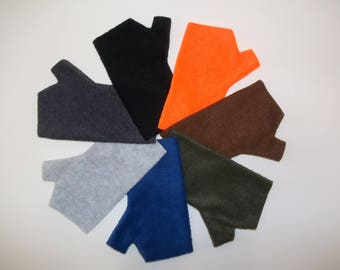 Men's Fleece Fingerless Gloves, Hunting Glove Liners, Orange, Brown, Army Green, Navy Blue, Light Gray, Charcoal Gray, Black, Camouflage