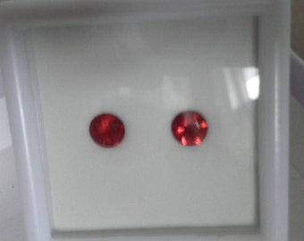 Bright Cherry Red Andesine Labradorite,Loose Matched Pair,5mm Red Andesine