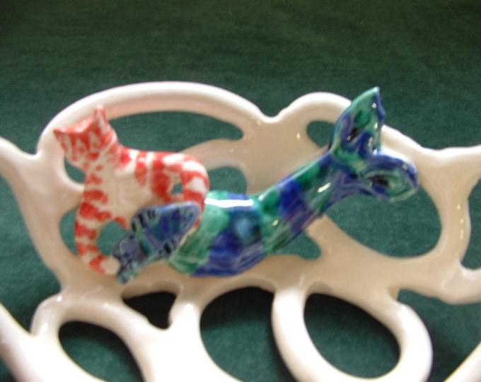 Cwazy Catfish Bowl With Holes pottery bowl-whimsical-home decor-tabby cat-mermaid-mercat-beach decor