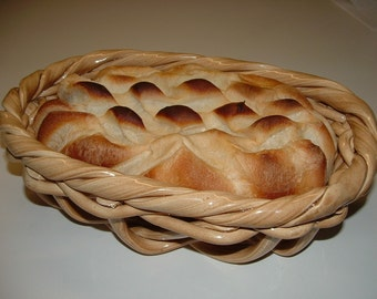Rectangular woven pottery basket bread warmer-bread baker-fruit bowl-home decor