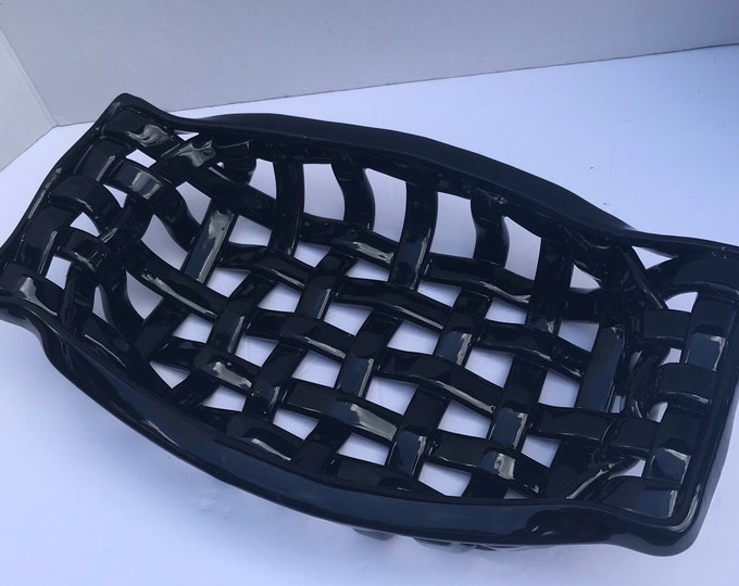 Black woven ceramic basket with handles - bread warmer fruit bowl centerpiece
