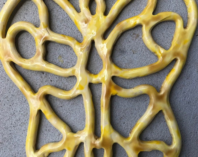 Yellow Butterfly -handcrafted ceramic -wall hanging -trivet