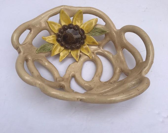 Sunflower bowl - fruit bowl -sponge holder -whimsical home decor