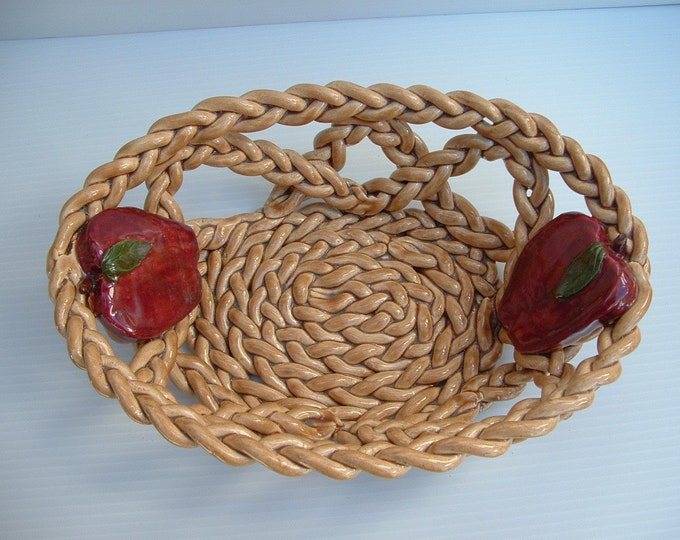 Ceramic Apple Bowl with holes braided pottery fruit bowl bread warmer centerpiece home decor
