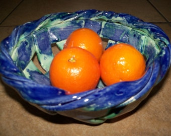 Blue Green Woven Bowl fruit bowl bread warmer great gift home decor
