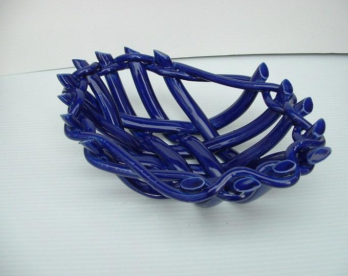Cobalt Blue pottery basket -fruit bowl-bread warmer or baker-functional home decor