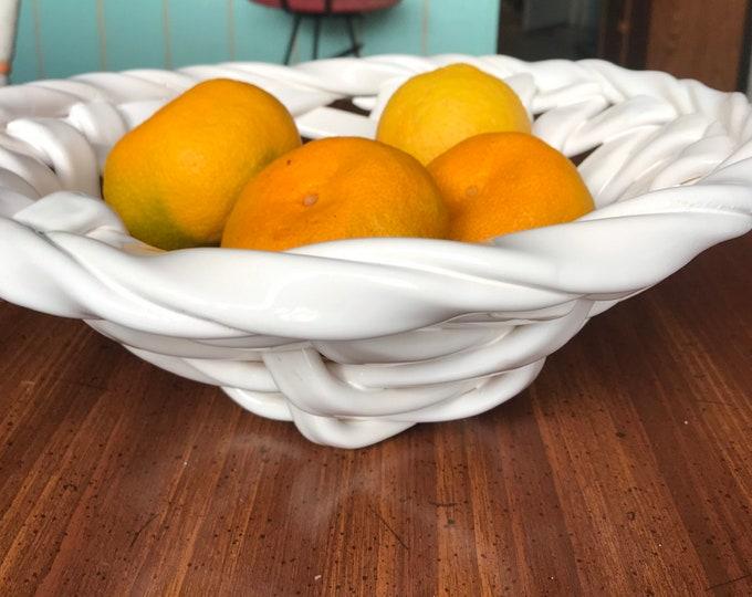 White woven ceramic frut bowl