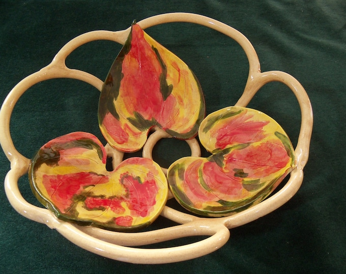 Bowl With Holes with Colorful Autumn Leaves  Fruit Bowl bread warmer centerpiece home decor