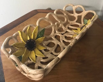 Sunflower bowl handcrafted pottery fruit bowl bread warmer baker home decor