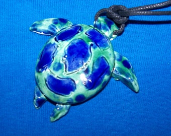 Sea Turtle Necklace-blue green-pendant-jewelry-pottery-colorful-great gift under 10