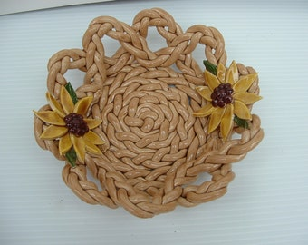Pottery Bowl -bread warmer-bread baker-fruit bowl-sunflowers-centerpiece-home decor-braided clay-woven basket