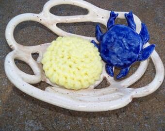 Blue Crab Bowl pottery fruit bowl bread warmer baker sponge holder