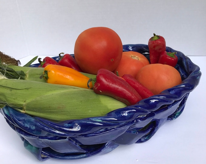 Wide Woven Pottery Basket