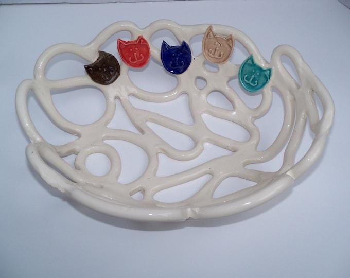 White woven pottery bowl-fruit bowl-bread baker-cat lovers gift-whimsical home decor