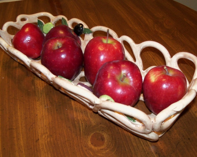 Beige Pottery Bowl  With Olives -french bread baker-bread  warmer-fruit bowl- home decor- centerpiece fruit bowl