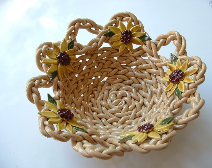 Sunflower Faces Pottery Bowl With Holes-bread warmer-fruit bowl- bread baker- centerpiece-sunflowers