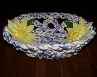 Yellow Daisy pottery Bowl fruit bowl-bread warmer-bread baker-centerpiece-home decor