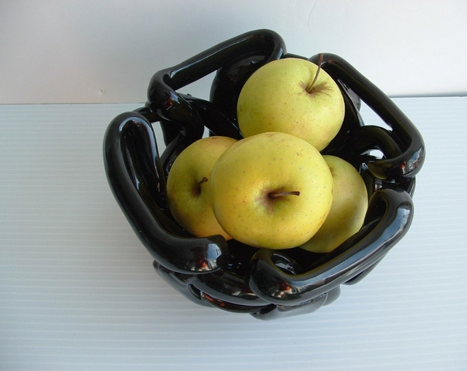Black Pottery Bowl - fruit bowl- bread warmer -decorative accent- orchid pot