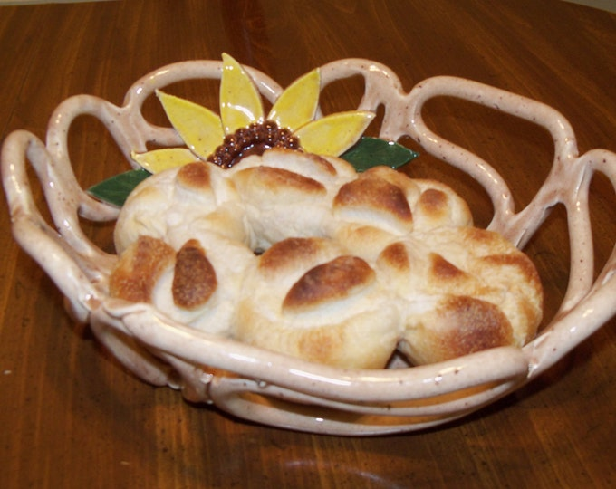 Sunflower pottery bowl -fruit bowl -bread basket -functional art for your table