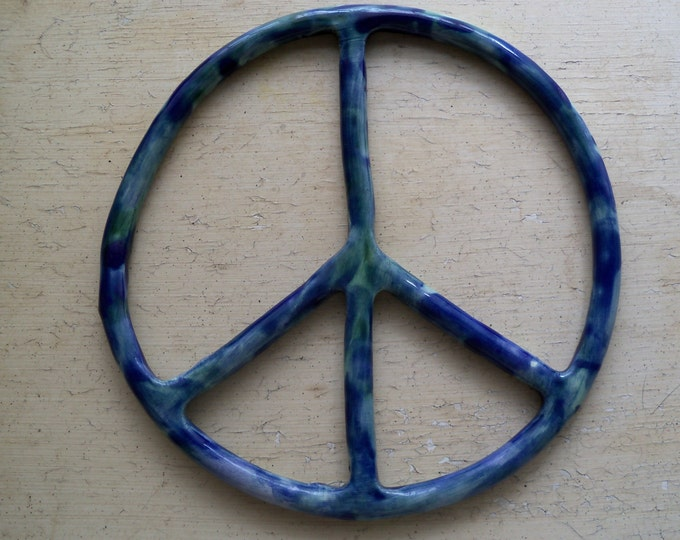 Peace Sign wall art home decor sculpture ceramic trivet blue green