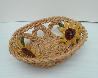 Sunflower Pottery Bowl- fruit bowl- bread warmer- pottery basket- home decor-sunflower decor