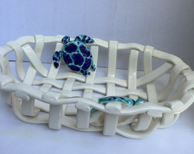 Hand Woven Ceramic Bread Basket with Sea Turtles