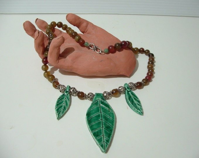 Leafy green statement necklace ceramic leaves with sterling silver amber jade acccents