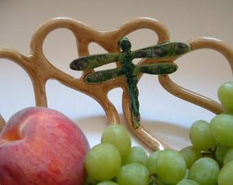 Pottery Fruit Bowl with Dragonfly bread warmer -centerpiece -home decor