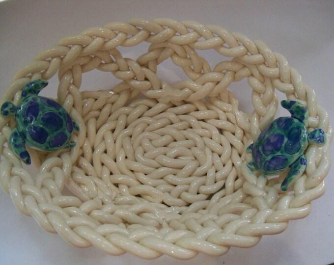 Ceramic basket- braided clay with sea turtles-fruit bowl bread warmer beach decor