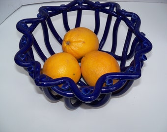 Cobalt Blue Woven Pottery Basket-aerated fruit bowl-bread warmer-home decor