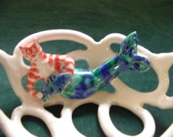 Pottery bowl-whimsical-home decor-tabby cat-mermaid-mercat-beach decor gift for cat lovers