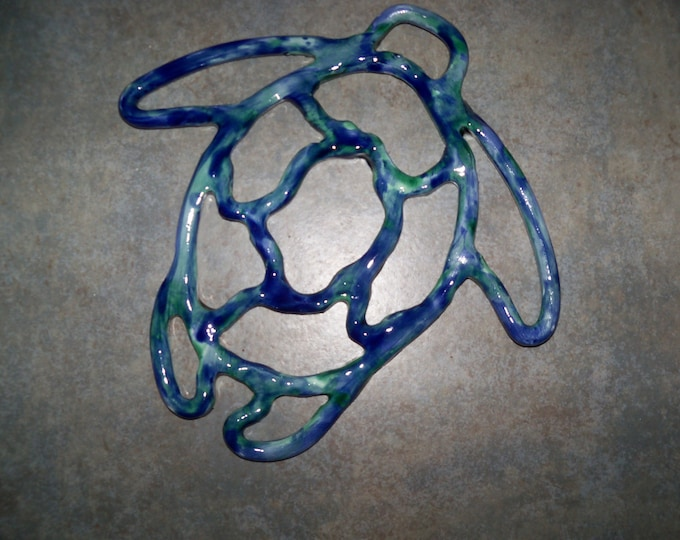 Sea turtle trivet- ceramic wall decor- kitchen -ocean blue- handcrafted in USA