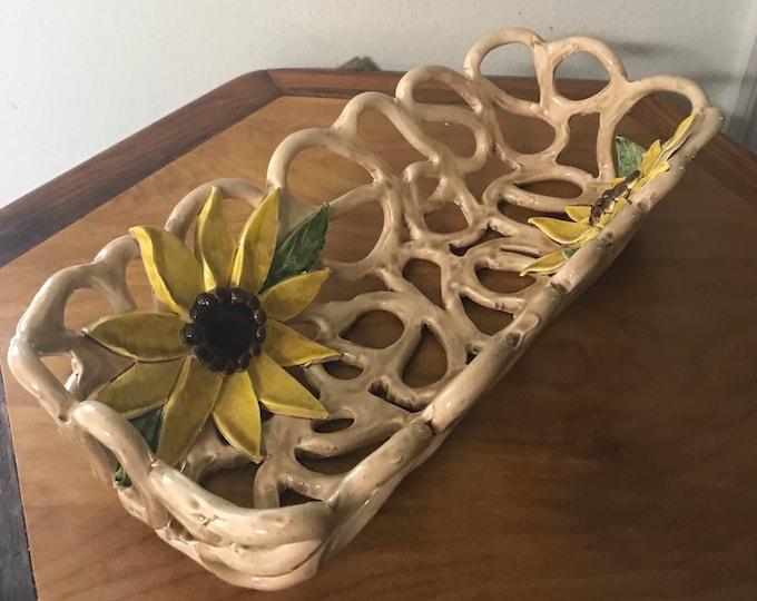 Sunflower bowl handcrafted pottery fruit bowl bread warmer baker home decor