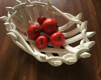 Airy Oval Fruit Bowl - pottery bread warmer-baker -center piece