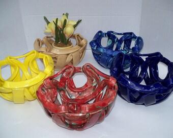 Art Pottery  Bowl -ceramic fruit bowl-bread warmer-bread baker-blue pottery bowl-home decor